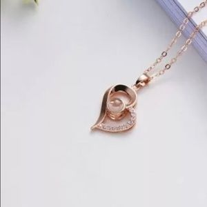 "Rose gold heart ""I love you"" projection necklace"